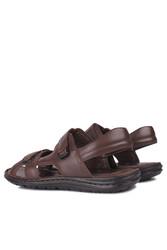 Fitbas 850186 232 Erkek Kahve Hakiki Deri Büyük Numara Sandalet - Thumbnail