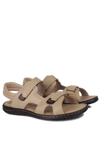 Fitbas - Fitbas 850186 324 Erkek Bej Hakiki Deri Büyük Numara Sandalet (1)