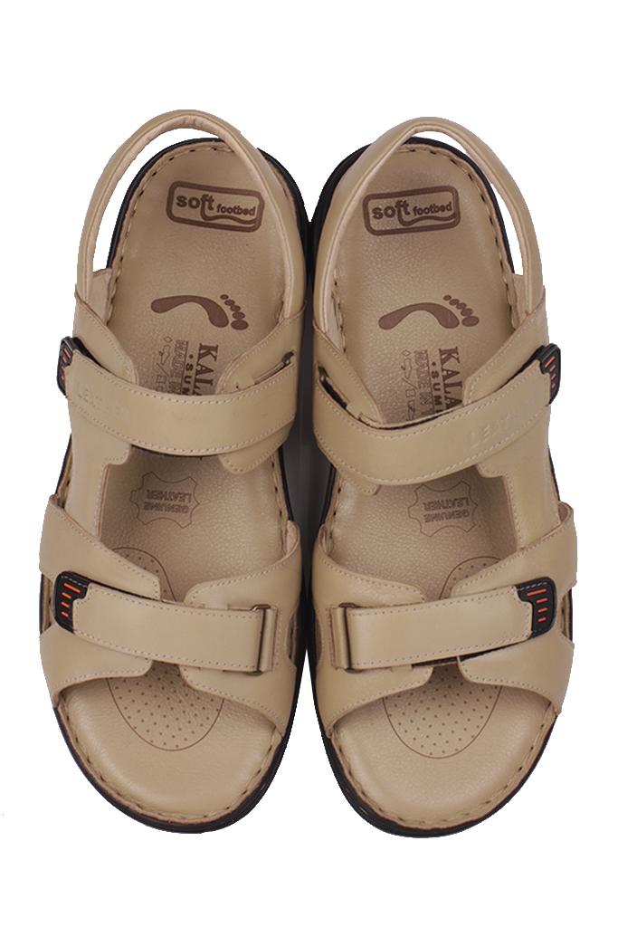 Fitbas 850186 324 Erkek Bej Hakiki Deri Büyük Numara Sandalet