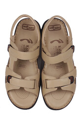 Fitbas 850186 324 Erkek Bej Hakiki Deri Büyük Numara Sandalet - Thumbnail