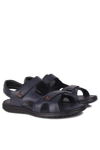 Fitbas - Fitbas 850186 424 Erkek Lacivert Hakiki Deri Büyük Numara Sandalet (1)