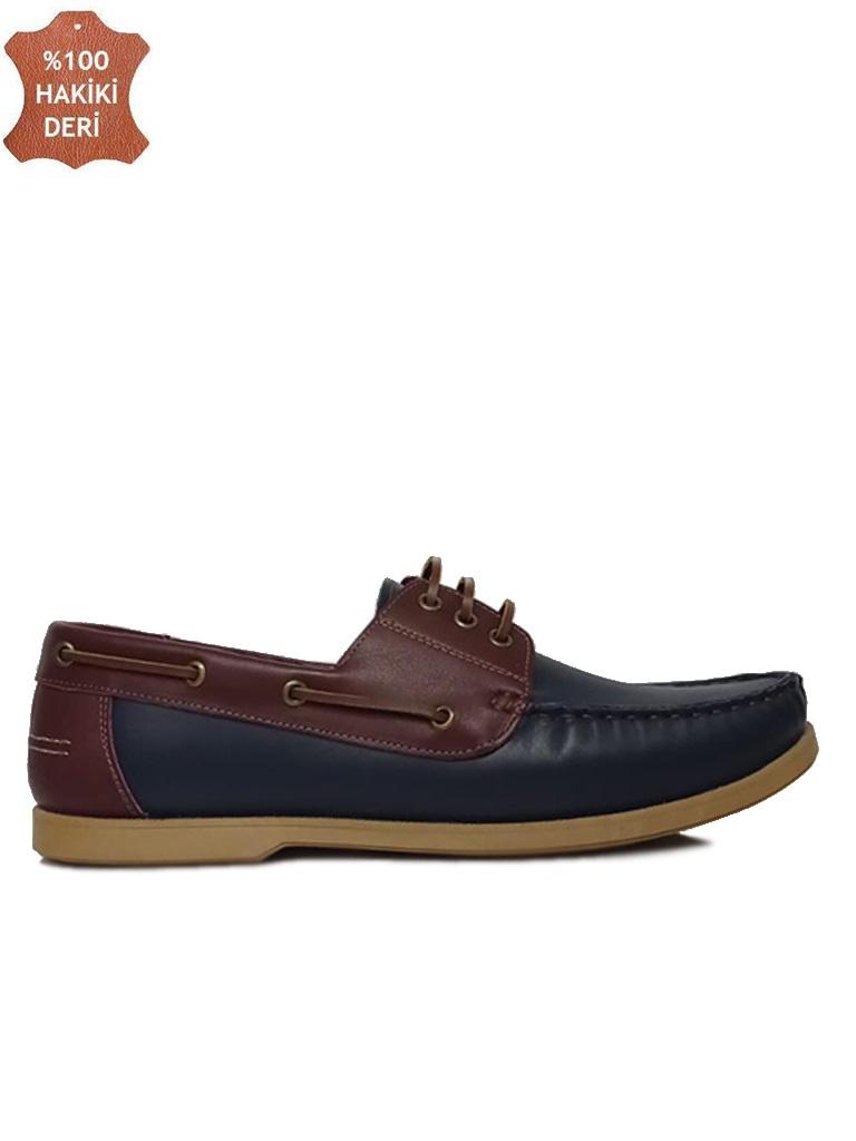 Fitbas 737001 419 Erkek Lacivert Bordo Deri Günlük Büyük Numara Ayakkabı