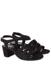 Fitbas 111141 008 Kadın Siyah Topuklu Büyük & Küçük Numara Sandalet - Thumbnail