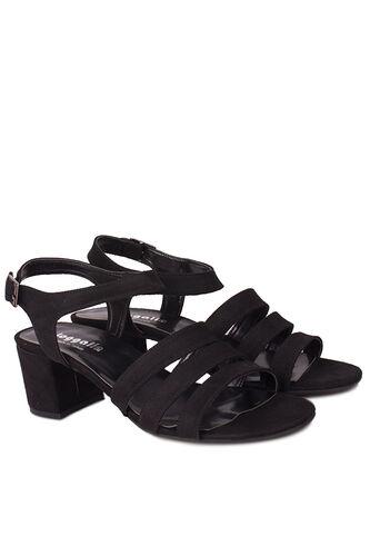 Fitbas - Fitbas 111141 008 Kadın Siyah Topuklu Büyük & Küçük Numara Sandalet (1)