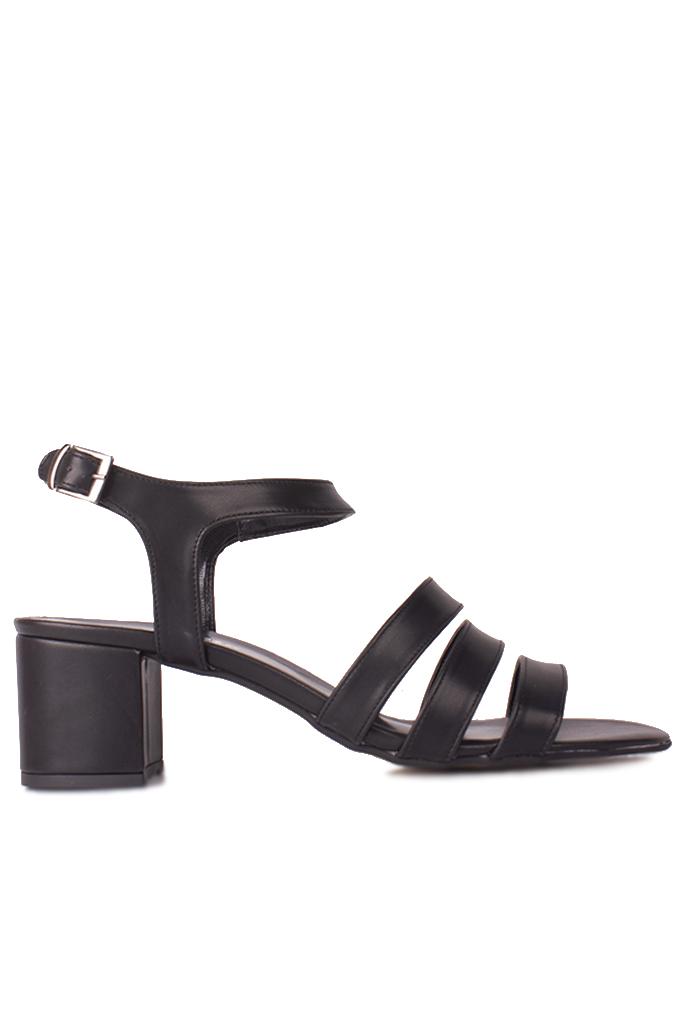 Fitbas 111141 014 Kadın Siyah Topuklu Büyük & Küçük Numara Sandalet