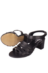 Fitbas 111141 014 Kadın Siyah Topuklu Büyük & Küçük Numara Sandalet - Thumbnail