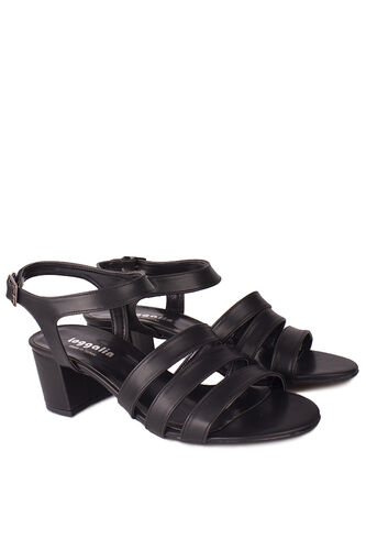 Loggalin - Loggalin 111141 014 Kadın Siyah Topuklu Büyük & Küçük Numara Sandalet (1)