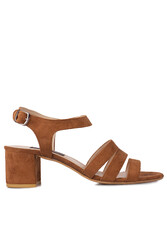 Fitbas 111141 167 Kadın Taba Topuklu Büyük & Küçük Numara Sandalet - Thumbnail