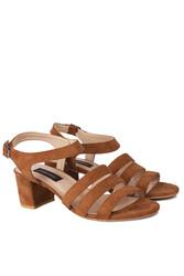 Loggalin 111141 167 Kadın Taba Topuklu Büyük & Küçük Numara Sandalet - Thumbnail