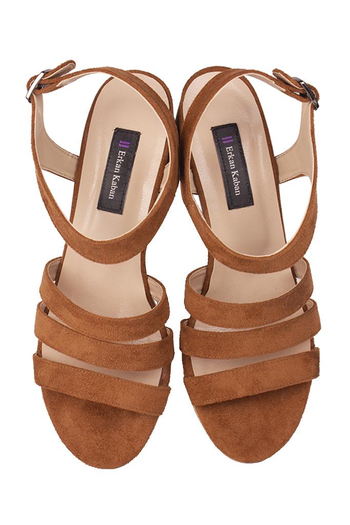 Loggalin 111141 167 Kadın Taba Topuklu Büyük & Küçük Numara Sandalet