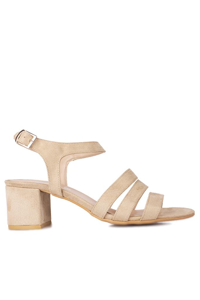 Fitbas 111141 327 Kadın Ten Süet Topuklu Büyük & Küçük Numara Sandalet