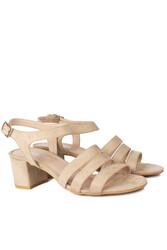 Fitbas 111141 327 Kadın Ten Süet Topuklu Büyük & Küçük Numara Sandalet - Thumbnail