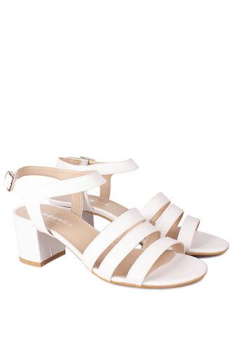 Fitbas - Fitbas 111141 468 Kadın Beyaz Topuklu Büyük & Küçük Numara Sandalet (1)