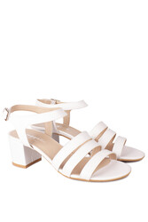 Fitbas 111141 468 Kadın Beyaz Topuklu Büyük & Küçük Numara Sandalet - Thumbnail