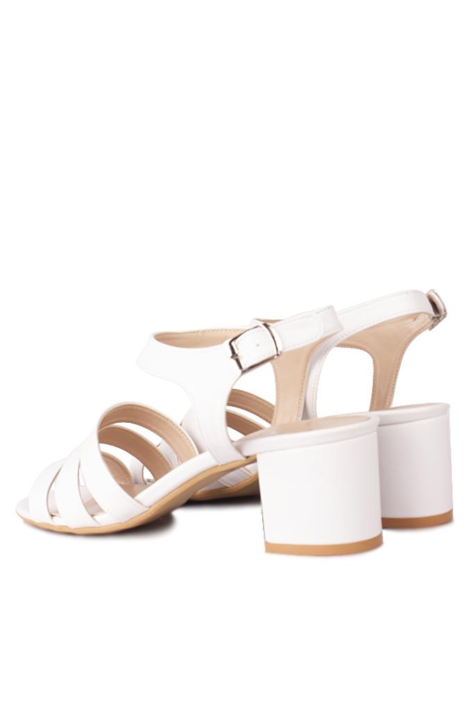 Fitbas 111141 468 Kadın Beyaz Topuklu Büyük & Küçük Numara Sandalet