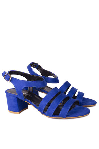Fitbas - Fitbas 111141 427 Kadın Saks Topuklu Büyük & Küçük Numara Sandalet (1)