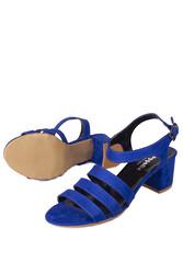Fitbas 111141 427 Kadın Saks Topuklu Büyük & Küçük Numara Sandalet - Thumbnail