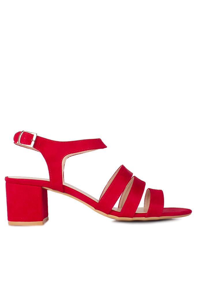 Fitbas 111141 527 Kadın Kırmızı Topuklu Büyük & Küçük Numara Sandalet