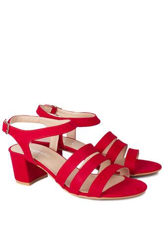 Loggalin - Loggalin 111141 527 Kadın Kırmızı Topuklu Büyük & Küçük Numara Sandalet (1)