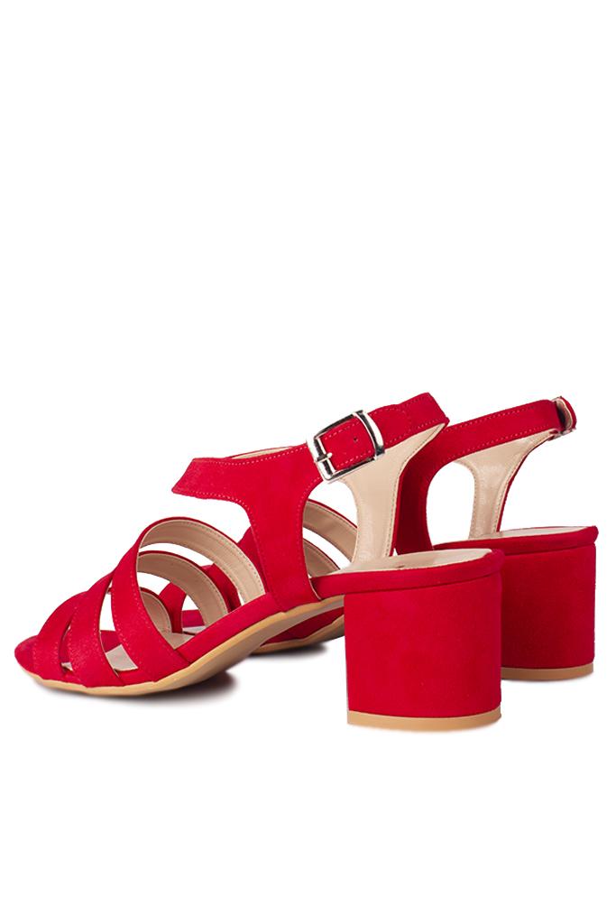 Loggalin 111141 527 Kadın Kırmızı Topuklu Büyük & Küçük Numara Sandalet