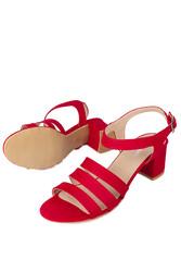 Loggalin 111141 527 Kadın Kırmızı Topuklu Büyük & Küçük Numara Sandalet - Thumbnail