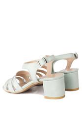 Fitbas 111141 673 Kadın Yeşil Süet Topuklu Büyük & Küçük Numara Sandalet - Thumbnail