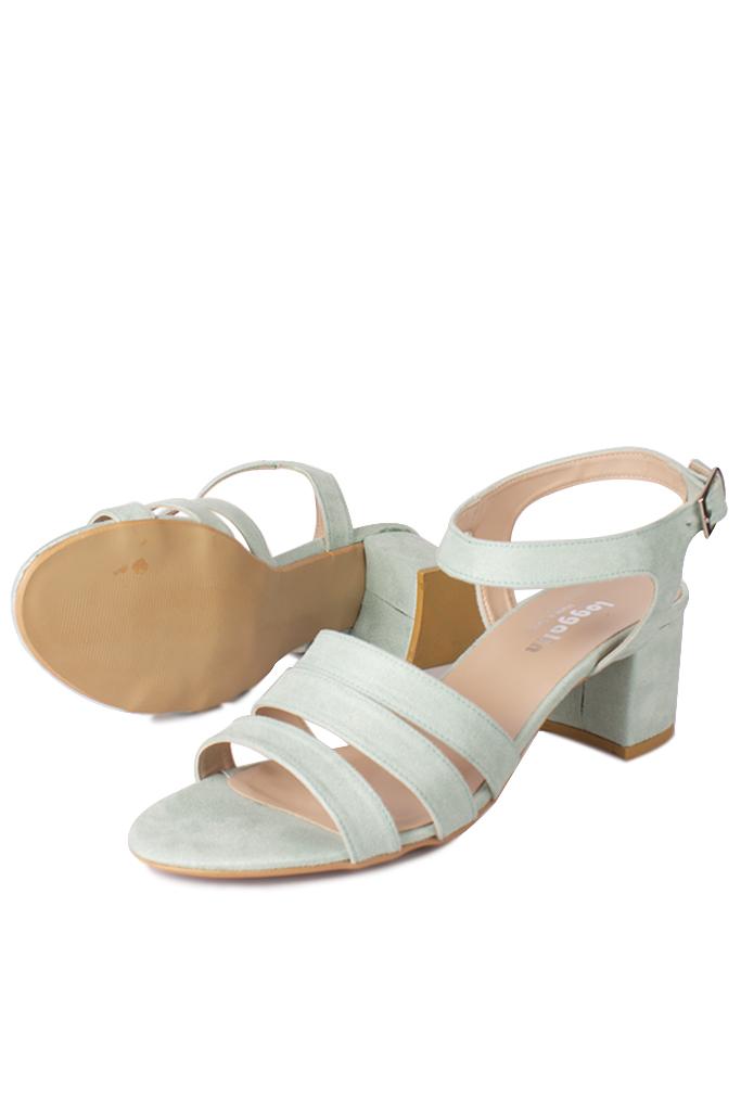 Fitbas 111141 673 Kadın Yeşil Süet Topuklu Büyük & Küçük Numara Sandalet
