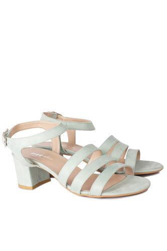 Loggalin - Loggalin 111141 673 Kadın Yeşil Süet Topuklu Büyük & Küçük Numara Sandalet (1)