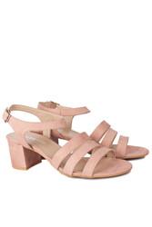 Fitbas 111141 727 Kadın Pudra Topuklu Büyük & Küçük Numara Sandalet - Thumbnail