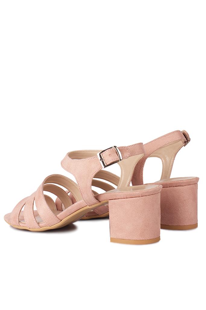 Fitbas 111141 727 Kadın Pudra Topuklu Büyük & Küçük Numara Sandalet