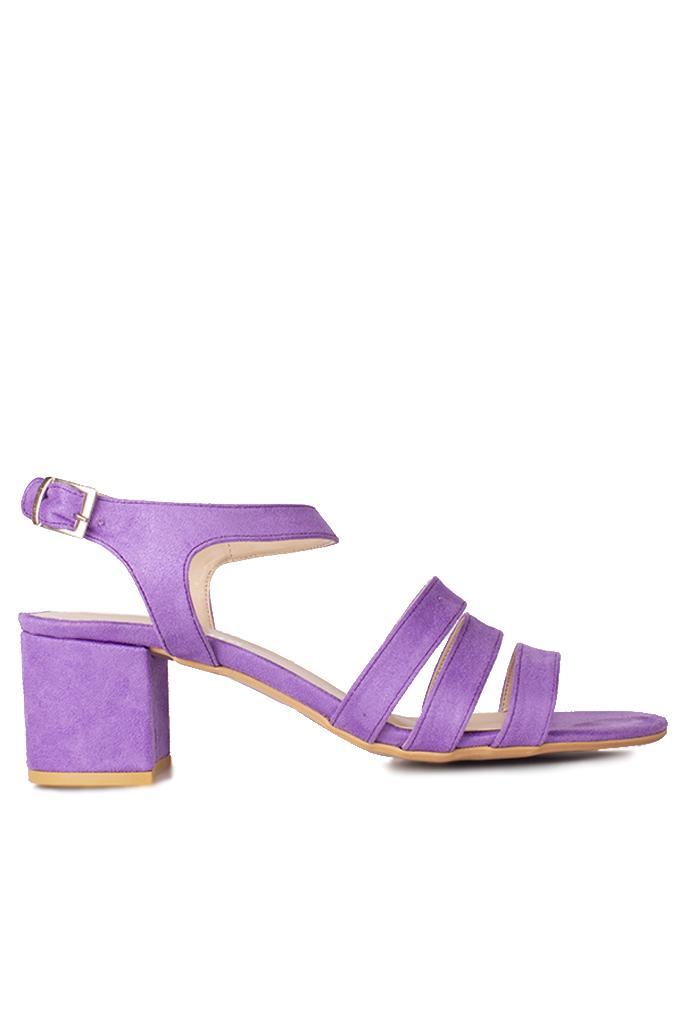 Fitbas 111141 930 Kadın Lila Süet Topuklu Büyük & Küçük Numara Sandalet