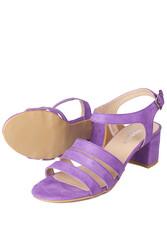 Fitbas 111141 930 Kadın Lila Süet Topuklu Büyük & Küçük Numara Sandalet - Thumbnail