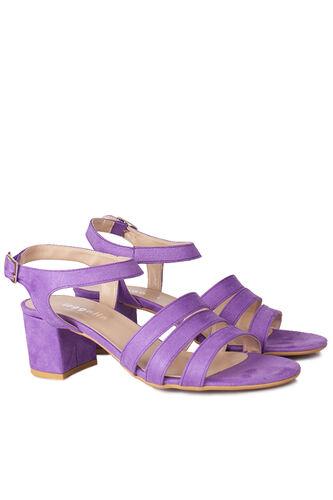 Loggalin - Loggalin 111141 930 Kadın Lila Süet Topuklu Büyük & Küçük Numara Sandalet (1)