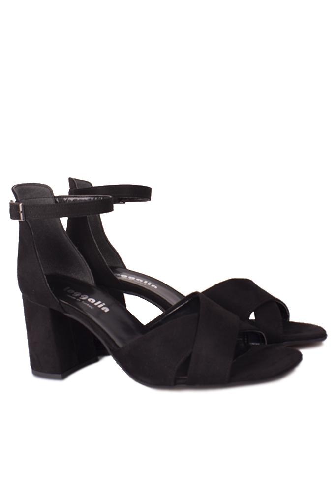 Fitbas 111171 008 Kadın Siyah Süet Topuklu Büyük & Küçük Numara Sandalet