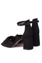 Fitbas 111171 008 Kadın Siyah Süet Topuklu Büyük & Küçük Numara Sandalet - Thumbnail