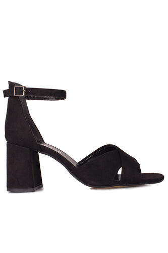 Loggalin 111171 008 Kadın Siyah Süet Topuklu Büyük & Küçük Numara Sandalet