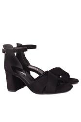 Loggalin 111171 008 Kadın Siyah Süet Topuklu Büyük & Küçük Numara Sandalet - Thumbnail