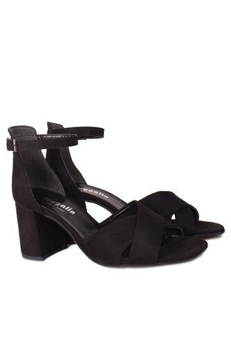 Fitbas - Fitbas 111171 008 Kadın Siyah Süet Topuklu Büyük & Küçük Numara Sandalet (1)