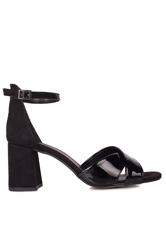 Fitbas 111171 024 Kadın Siyah Topuklu Büyük & Küçük Numara Sandalet