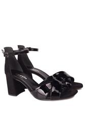 Fitbas 111171 024 Kadın Siyah Topuklu Büyük & Küçük Numara Sandalet - Thumbnail