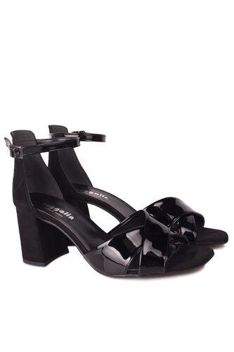 Fitbas - Fitbas 111171 024 Kadın Siyah Topuklu Büyük & Küçük Numara Sandalet (1)