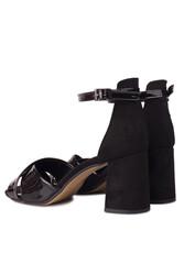 Loggalin 111171 024 Kadın Siyah Topuklu Büyük & Küçük Numara Sandalet - Thumbnail