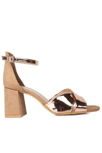 Fitbas 111171 340 Kadın Bronz Ayna Topuklu Büyük & Küçük Numara Sandalet