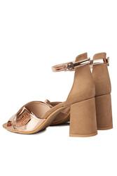 Fitbas 111171 340 Kadın Bronz Ayna Topuklu Büyük & Küçük Numara Sandalet - Thumbnail