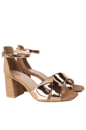 Fitbas - Fitbas 111171 340 Kadın Bronz Ayna Topuklu Büyük & Küçük Numara Sandalet (1)