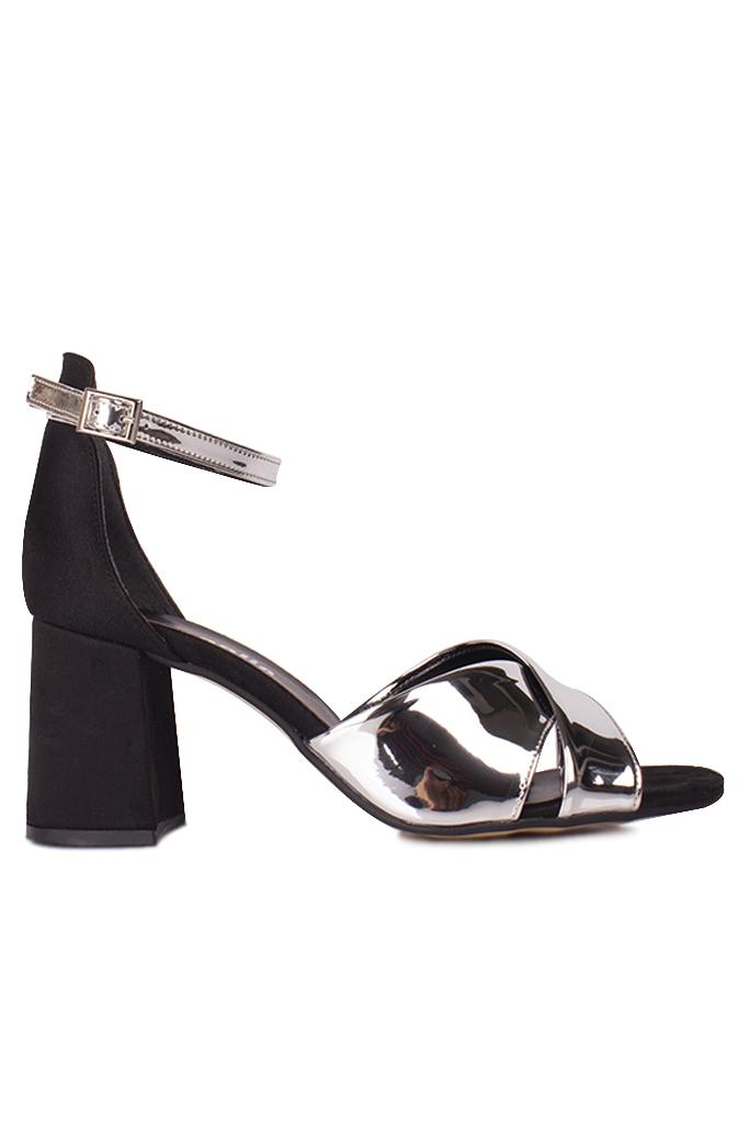 Fitbas 111171 771 Kadın Gümüş Ayna Topuklu Büyük & Küçük Numara Sandalet