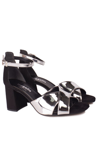 Fitbas - Fitbas 111171 771 Kadın Gümüş Ayna Topuklu Büyük & Küçük Numara Sandalet (1)