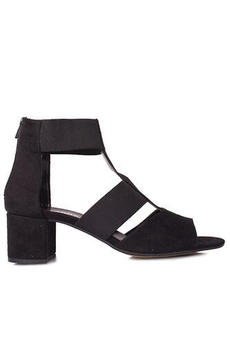 Fitbas 111212 008 Kadın Siyah Topuklu Büyük & Küçük Numara Sandalet