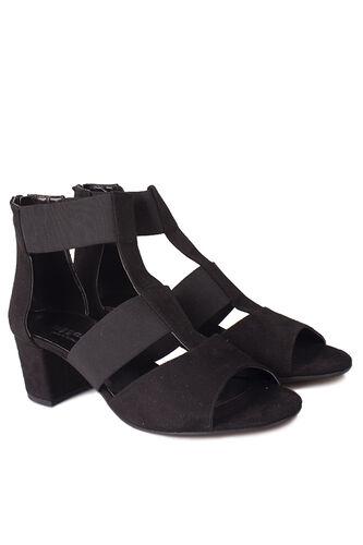 Fitbas - Fitbas 111212 008 Kadın Siyah Topuklu Büyük & Küçük Numara Sandalet (1)