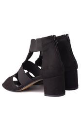 Fitbas 111212 008 Kadın Siyah Topuklu Büyük & Küçük Numara Sandalet - Thumbnail